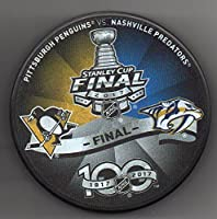 2017 Stanley Cup Final Official NHL Puck Pittsburgh Penguins vs Nashville Predators 100 Year Anniversary + FREE Puck Cube