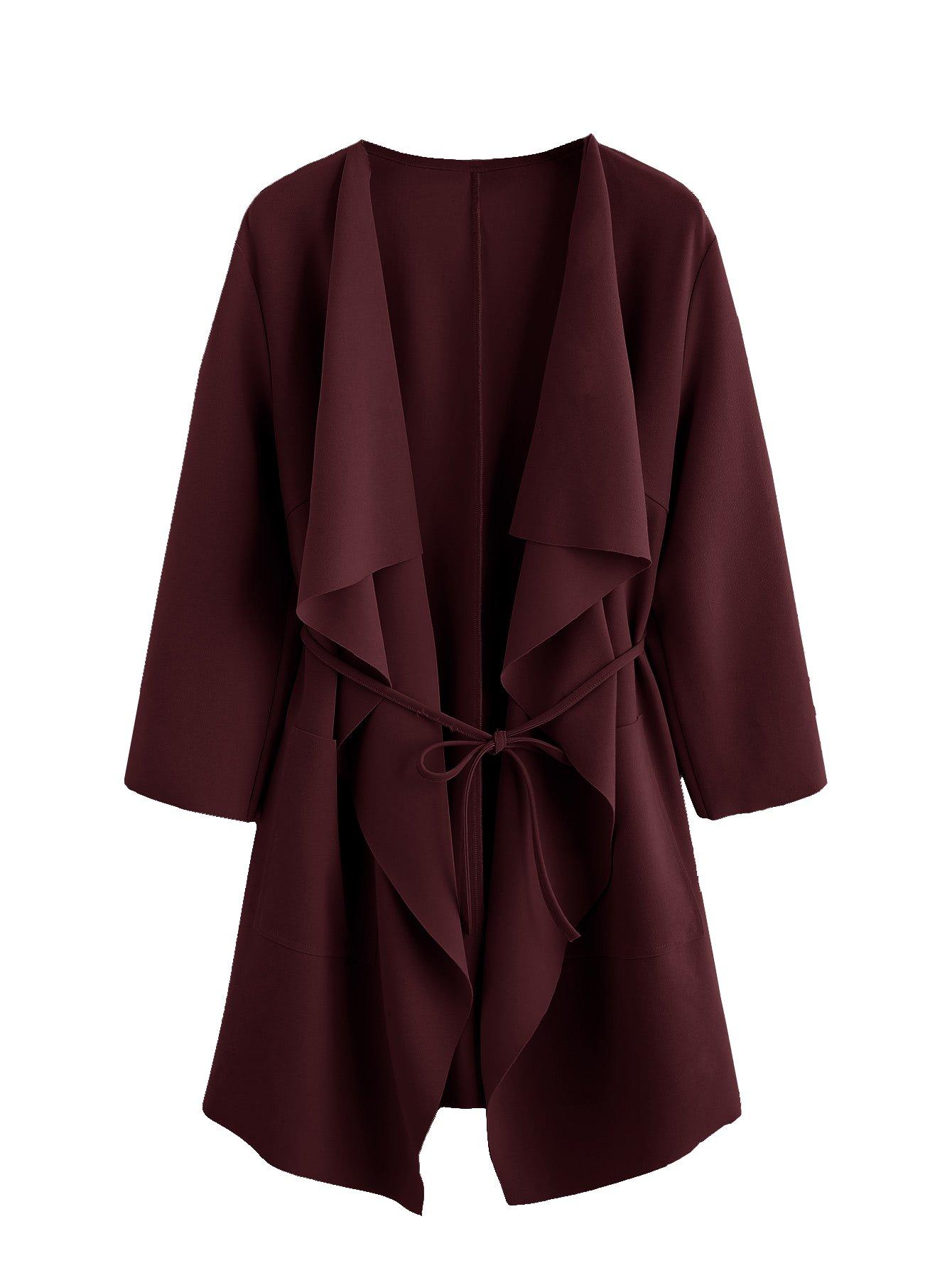 Romwe Women's Raw Cut Hem Waterfall Collar Long Sleeve Wrap Trench Coat Cardigan Burgundy L