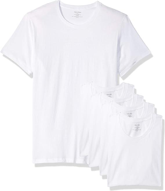 Calvin Klein - Playera de Manga Corta para Hombre, 100% algodón, Cuello Redondo, Blanco (White/White/White/White), Large: Amazon.com.mx: Ropa, Zapatos y Accesorios