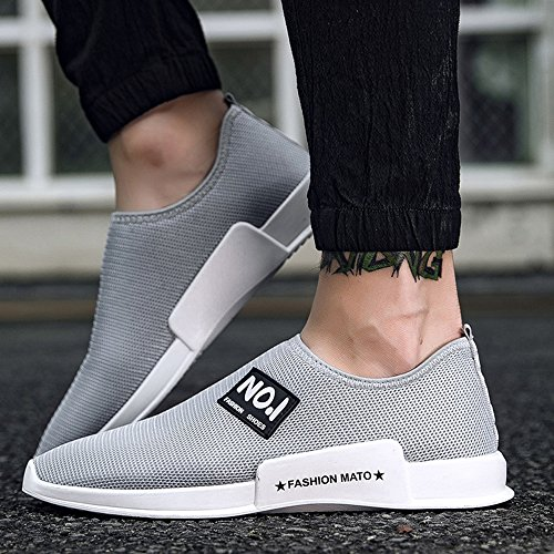 JACKSHIBO Herren Weich Atmungsaktiv Rutschfest Sneakers Outdoor Mesh Sportschuhe Leicht Low-Top Freizeitschuhe Grau