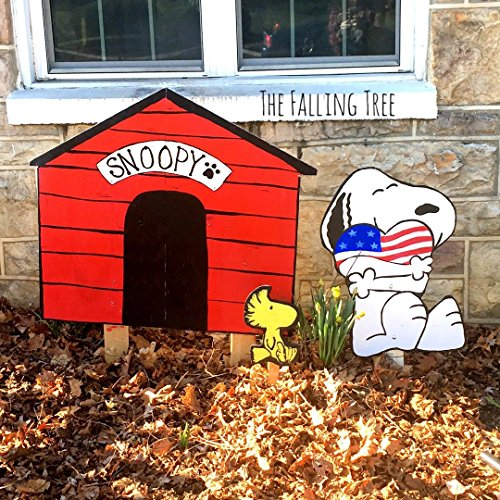 Hand Painted, Wooden, Patriotic, American Flag Snoopy Set, Doghouse and Woodstock Garden Decoration, Yard ()