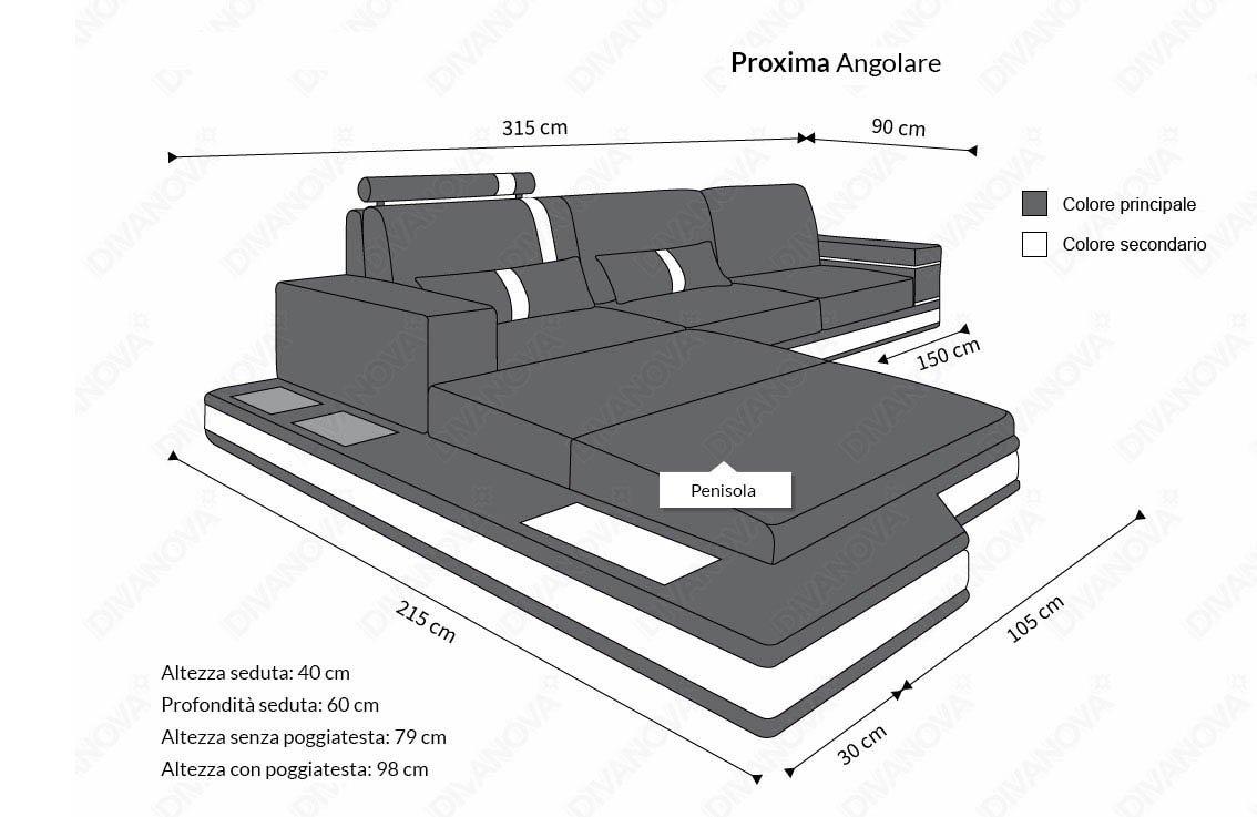 Divanova | Divano moderno Proxima angolare in similpelle - bianco ...