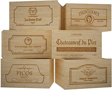 1 madera Burgognoche robustas Navidades cart/ón acoplado y asa exterior 9 x 9 x 38,5 cm de altura 10 cajas de color madera doradas para 1 botella de vino vertical modelo Bordol/és