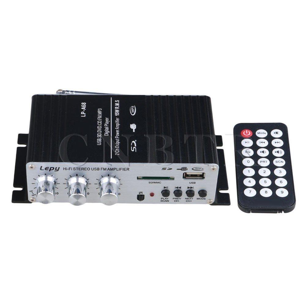 Lepai LP-A68 DC12V USB /& FM Mini Car Power Amplifier IR Remote Controller