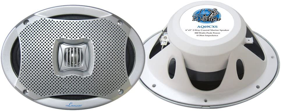 2-Enrock 2-Way 6x9 White Marine Speaker Set Kenwood Bluetooth USB CD iPod Radio