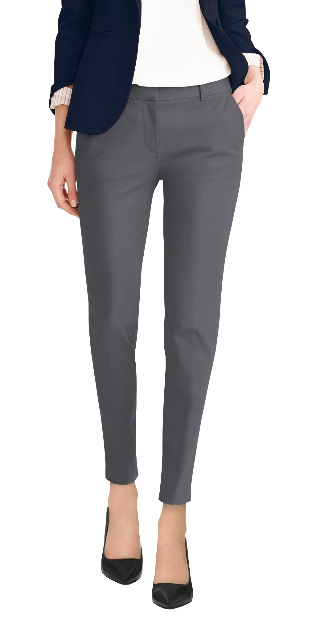 HyBrid & Company Super Comfy Womens Flat Front Stretch Trousers Pants PW31200TT Charcoal 20