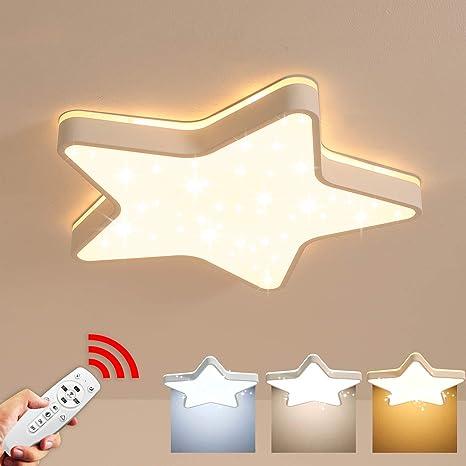 LED Deckenleuchte, funkelnder Glitzer-Stern-Lichteffekt, Ø60cm fünfzackige  Stern Deckenlampe, Eingebaute 48W LED, 4800Lm, Mit Fernbedienung dimmbar,  ...