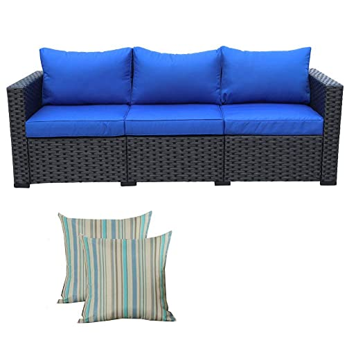 3-Seat Patio PE Wicker Sofa – Outdoor Rattan Couch Furniture w Steel Frame and Blue Cushion