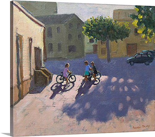 Andrew Macara Gallery-Wrapped Canvas entitled Three children with bicycles, Spain by greatBIGcanvas