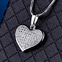 Promise Quality Womens Cubic Zirconia Rhinestone Heart Pendant Wedding Necklace