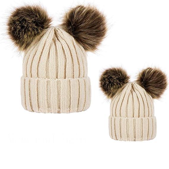 Mitlfuny Niños Niñas Sombreros de Punto para Bebé Invierno Grueso Caliente  Padre-Hijo Gorro de 629fcabc609