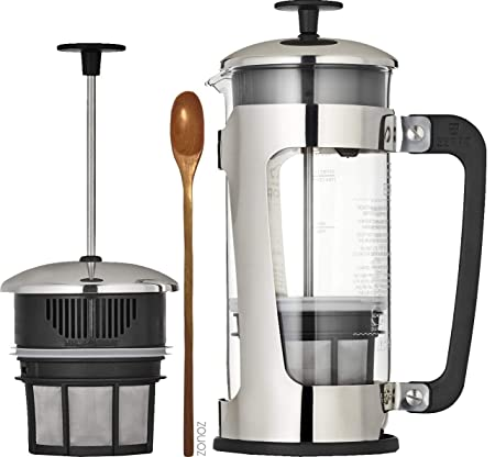 Espro Press P5 with Coffee Filter 3-4 cups, 18 oz Bundle with Spoon, French Press Style Coffee Maker, Stainless Steel Cage, Carafe with Safety Lock With Coffee Filter, 32 oz