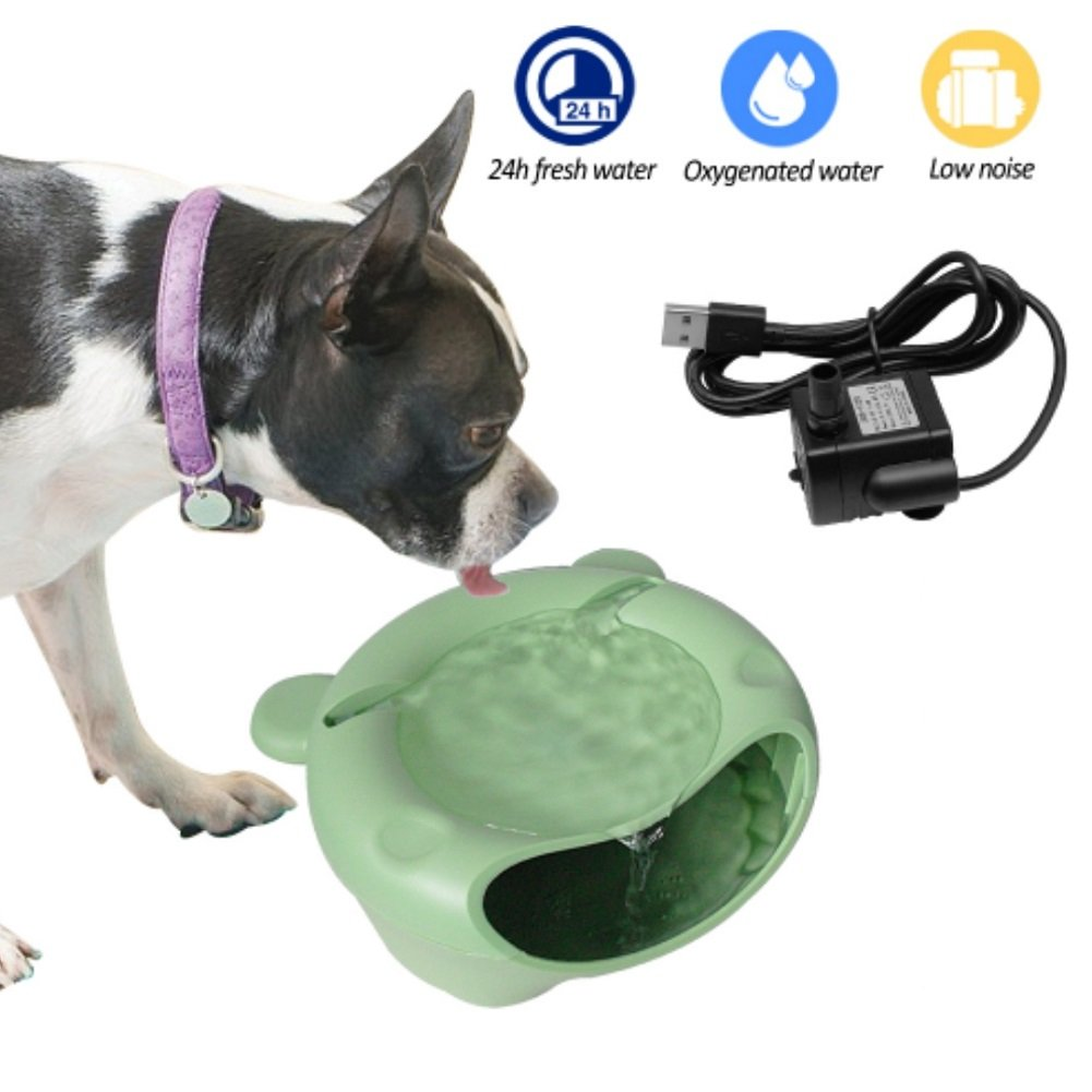 Stock Show Cat Dog Water Fountain Cute Quiet Automatic Drinking Fountain Electric Water Dispenser Pet Fountainfor Cat Small Dog Puppy Kitten Birds for Indoor Use, Green