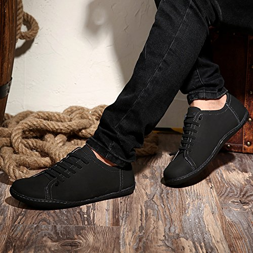 Abby 6336 Herren Casual Bussiness Lace Up Runde Kappe Freizeit Comfy Driving Sneakers Leder Schwarz