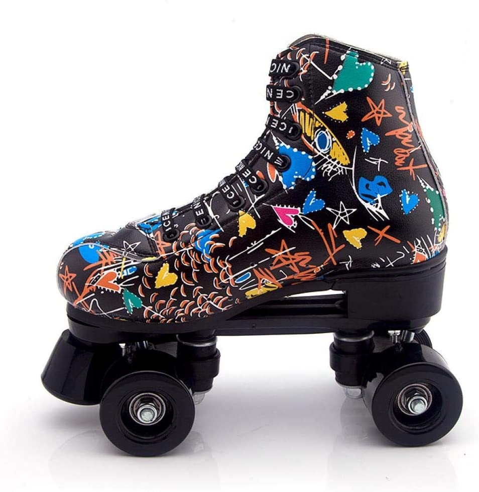 Gets Womens Roller Skates PU Leather High-top Roller Skates Four-Wheel Roller Skates Double Row Shiny Roller Skates for Indoor Outdoor