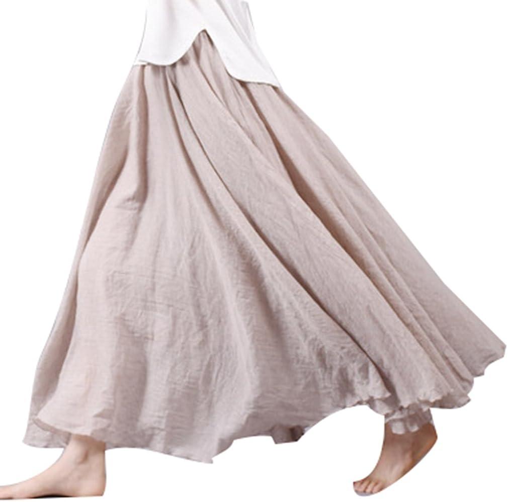 Juleya - Falda maxi para mujer, algodón y lino, doble capa, falda ...