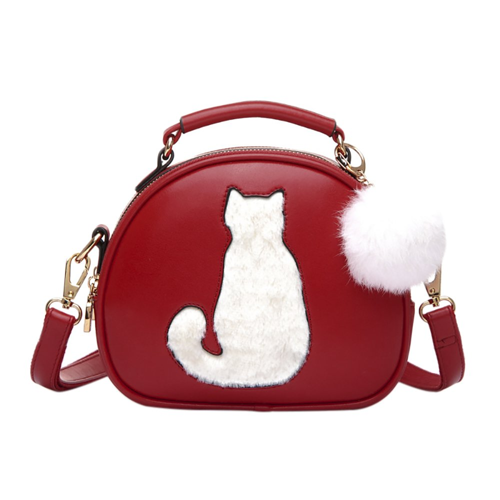 QZUnique Women's PU Leather Small Round Cat Style CrossBody Purse Cartoon Tote Convertible Satchel Red