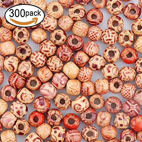 SOTOGO 300 Pieces 10mm Natural Painted Wood Beads Round Loose Wooden Bead Bulk Lots Ball For Jewelry Making Craft Hair Diy Macrame Bracelet Necklace Mix Color