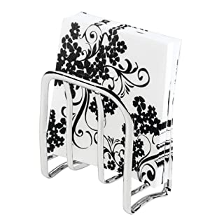 mDesign Modern Metal Steel Paper Napkin Holder for Kitchen Countertops, Dinner/Picnic Tables - Indoor & Outdoor Use, Storage and Organization for Multiple Sizes - Chrome