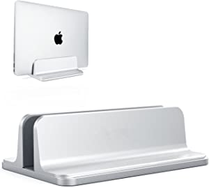 ORANGEHOME Laptop Stand,Vertical Desktop Holder with Adjustable Dock Size,Laptops Holder Compatible with All Notebooks, MacBook,Surface,Dell,Gaming,iPad (Silver)