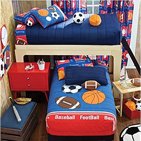 SPORTS DEPORTIVO KIDS COLLECTION BUNKBED COMFORTER SHEET SET WINDOWS PANELS AND DECORATIVE DOUBLE SIDED PILLOW 9 PCS TWIN SIZE