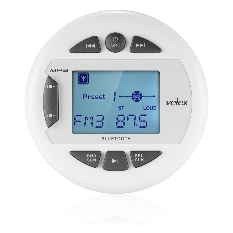 Marine Stereo by Velex, In-Dash, Marine Gauge, Bluetooth, Digital Media MP3 / WMA / USB / AM/FM Weather-Proof Marine Stereo, (No CD Player)