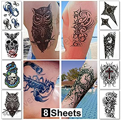 8 Sheets Temporary Tattoos for Guys for Men - Fake Tattoo, Biker Tattoos, Rocker Stickers for Arms Shoulders Chest & Back - Boys Tattoos Body Art Tattoo Sticker Waterproof Large Transfers (Saturn) from Sovereign-Gear