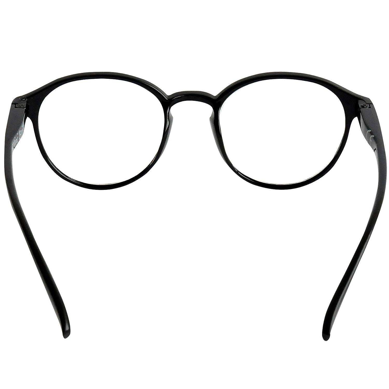Montatura in Plastica stile Classico da Nerd MiniBrille Occhiali da Lettura con Grandi Lenti Tonde Blu Custodia INCLUSA per Uomo e Donna Diottrie +3.5