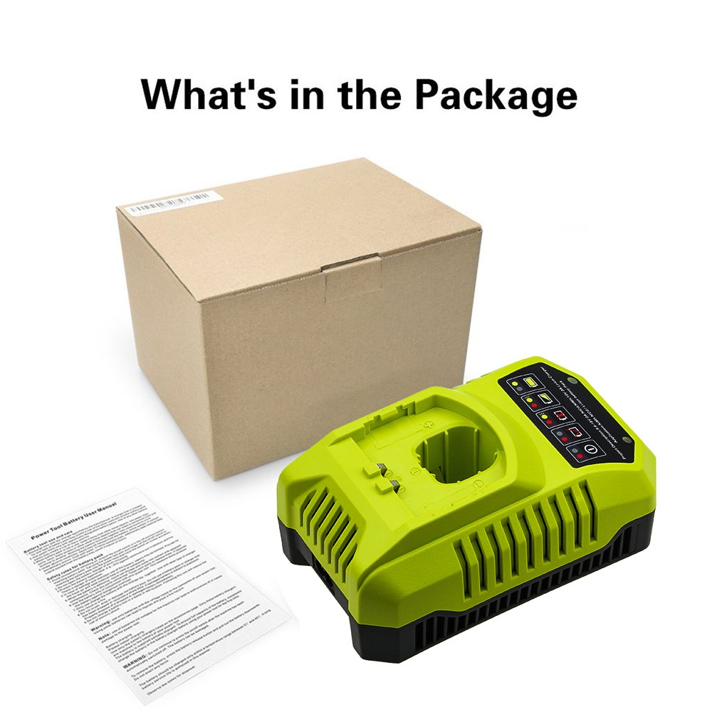 Replace Ryobi Charger for Ryobi 9.6v-18v P102 P105 P107 P117 P113 Charger One+ Dual Chemistry IntelliPort Lithium Ion and NiCad by GERIT BATT (Image #6)