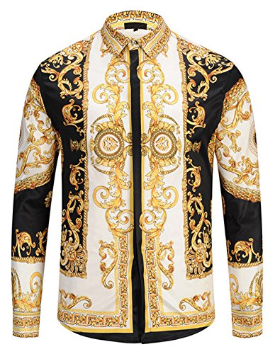 PIZOFF Mens Long Sleeve Luxury Gold Floral Print Dress Shirt ()