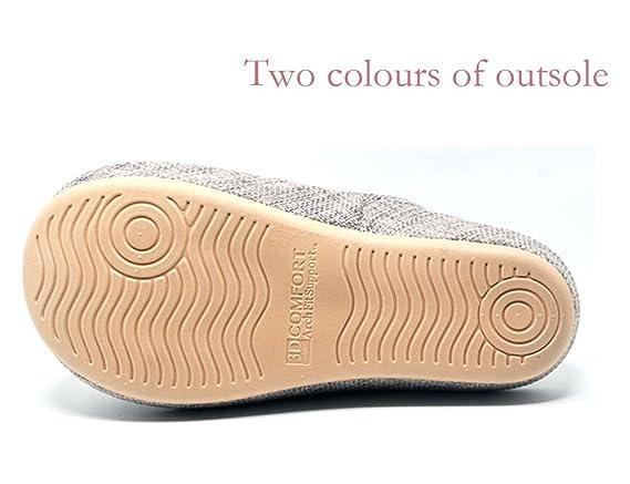 Unisex Slip-On Zapatillas Happy Lily antideslizante puntera abierta sandalia 3d estructura Mules vestido algodón Tejido Interior zapatos para Adultos, gris