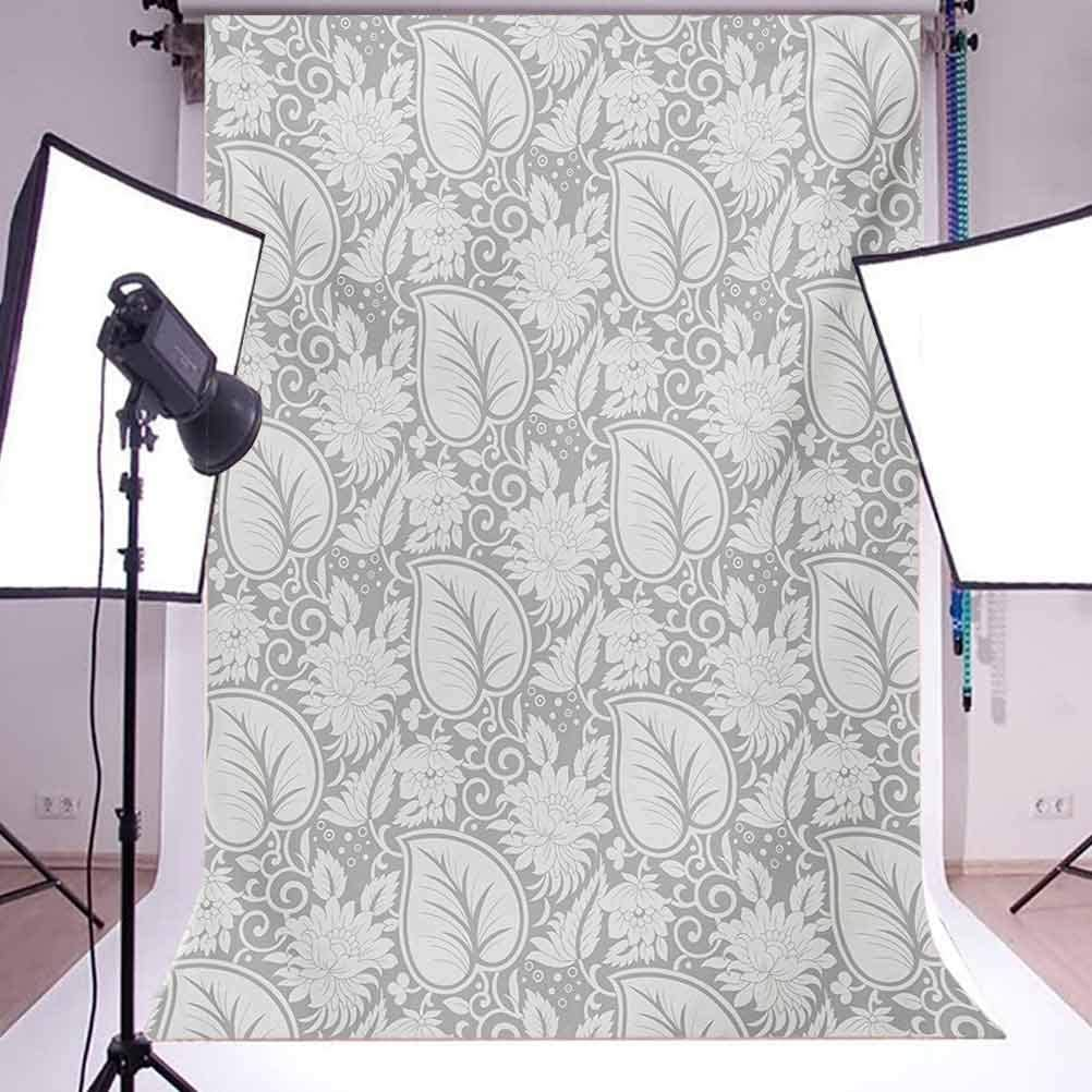 Grey 10x15 FT Photography Backdrop Big Leaves on Old Fashion Floral Background Feminine Dramatic Style Retro Graphic Print Background for Party Home Decor Outdoorsy Theme Vinyl Shoot Props Grey