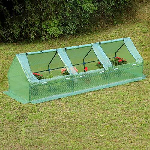 Erommy 95″ W × 32″ D × 32″ H Portable Mini Greenhouse Outdoor Green Plant Hot House with Zipper Doors for Garden,Patio,Home,Backyard,Green