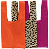 BAGGU Mini Reusable Shopping Bag, Ripstop Nylon Grocery Tote or Lunch Bag, 3-Pack: Sunset Leopard