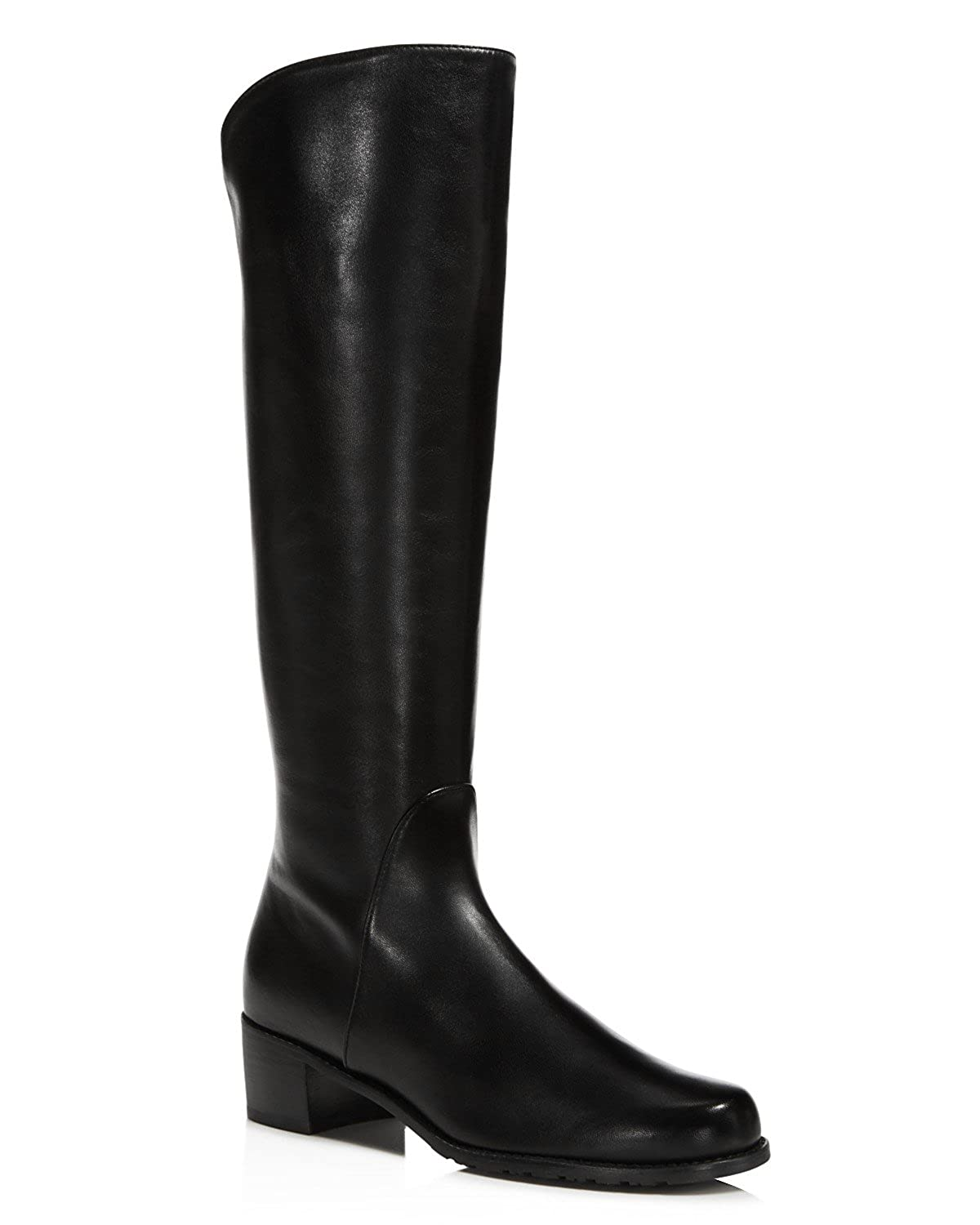 Black Nappa Stuart Weitzman Womens Ville Pentagon Suede Stacked Knee-High Boots