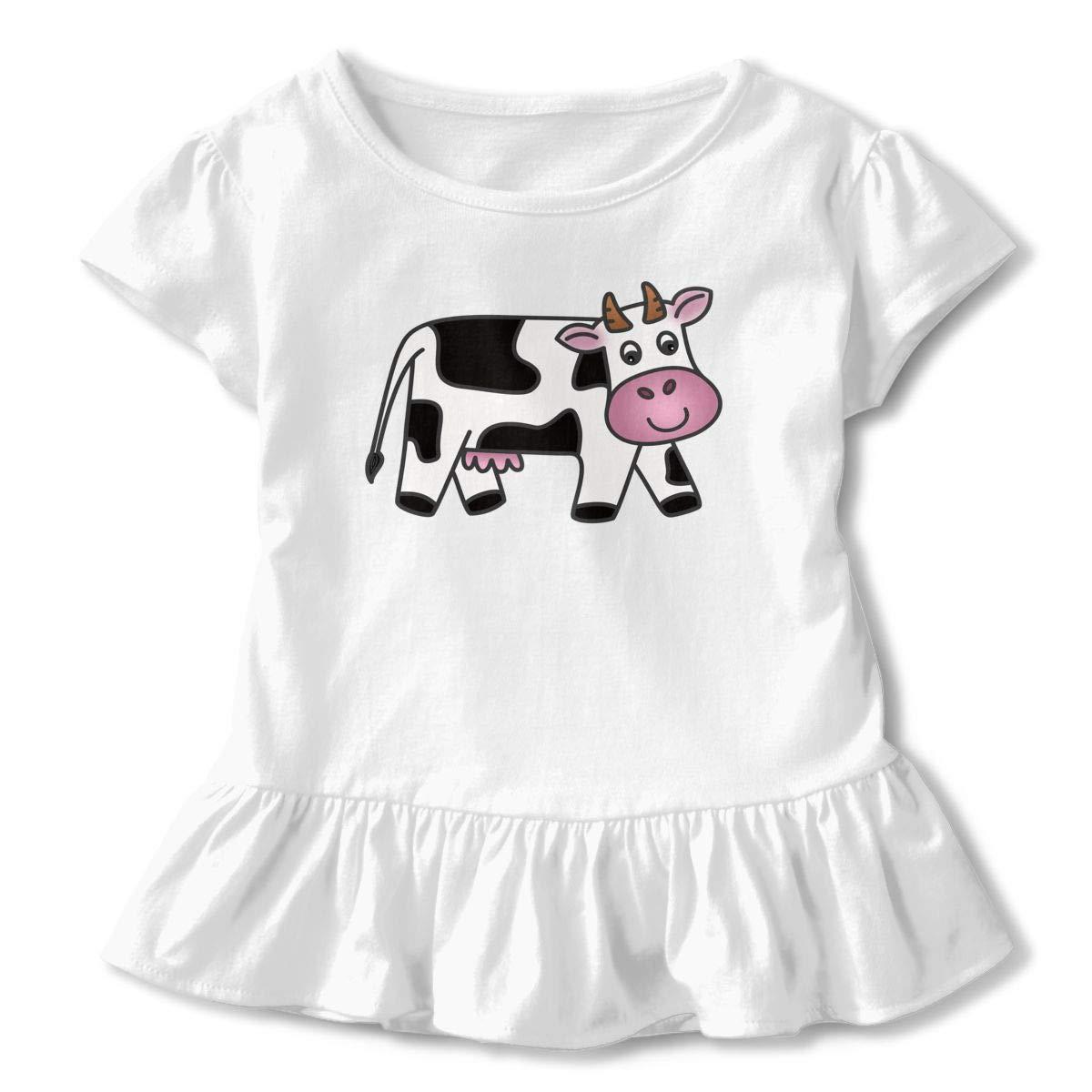 White Milk Cows Cotton Toddler Girls' Short Sleeve Ruffle Tshirts For 2-6T Girl Richard Barajasa