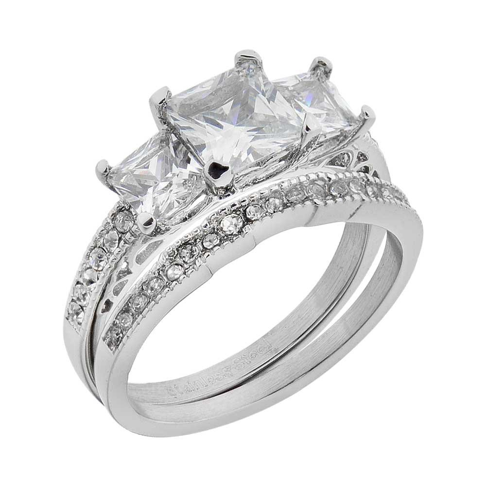 Stainless Steel Princess Cut CZ Women Wedding Ring Set 3 Stones Bride Engagement Band Size 5-10 SPJ
