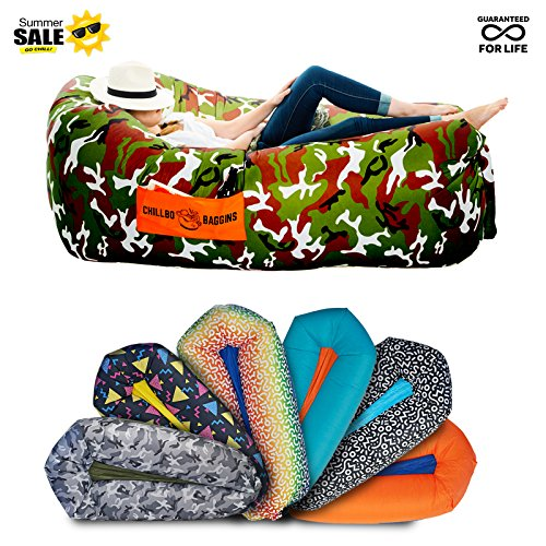 Folding Hammock - Chillbo Baggins 2.0 Inflatable Lounger Hammock Air Sofa and Pool Float Ships Fast! Ideal as Air Lounger for Indoor or Outdoor Hangout or Inflatable Lounge for Camping Picnics & Music Festivals