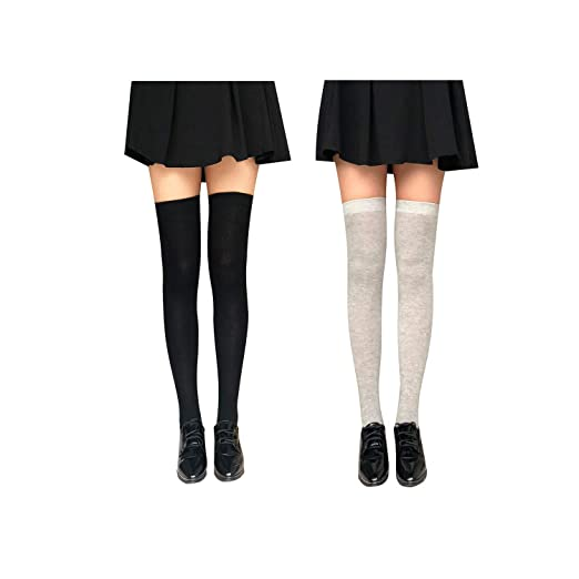 53818b4771a Kaariss Women Cotton Knit Over the Knee Socks Crochet Thigh High Stockings  Dresses Cosplay Socks Leg Warmers Leggings (2 Pairs Black Gray) at Amazon  Women s ...