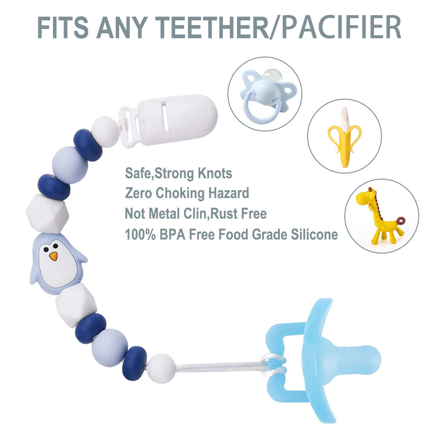 Teether Toy Holder for Boy or Girl Baby Shower Gift BPA Free Pack of 2 Pacifier Clip with Silicone Teething Beads Pacifier Holder for Baby Cute Penguin Design