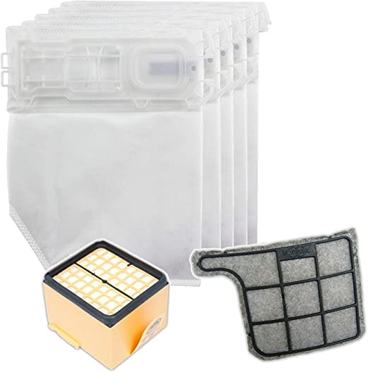 Spares2go Kit de filtro y bolsas de microfibra para Vorwerk Kobold ...