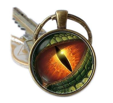 Ojo de dragón dinosaurio llavero llavero llavero de piel de ...