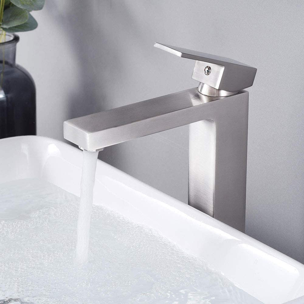 Aquaterior Modern Brushed Nickel Single Hole Tall Vessel Sink Faucet For Bathroom One Handle Mixer Faucet