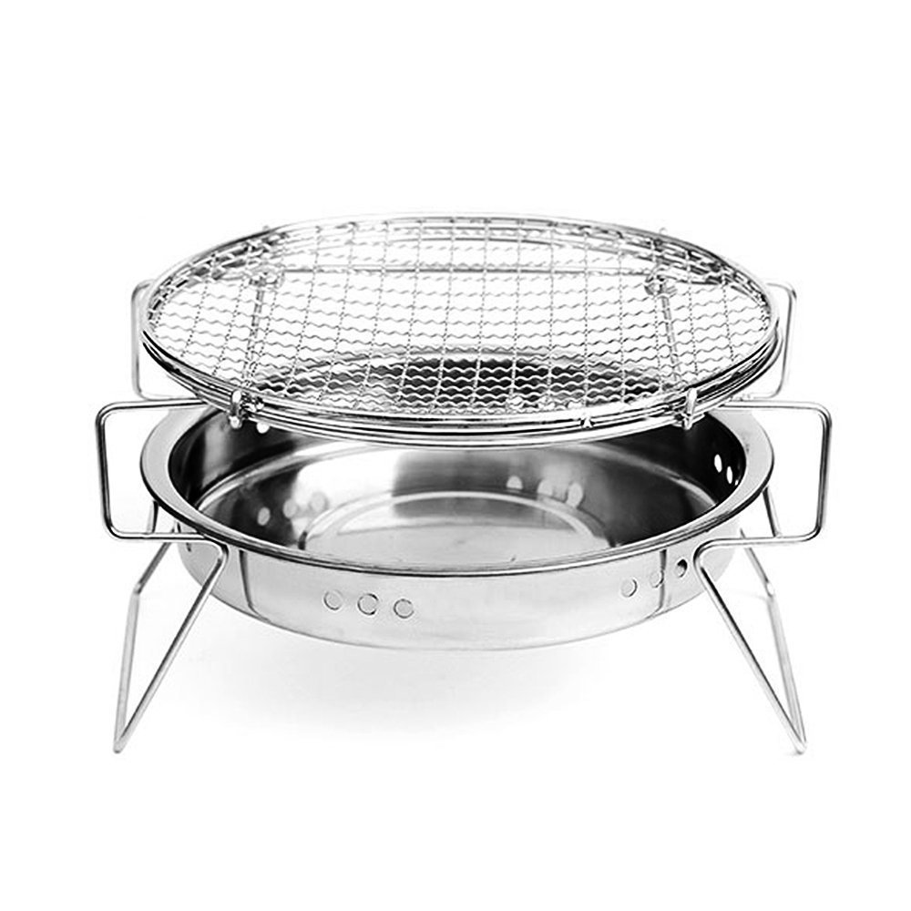 Linkeria Portable Charcoal BBQ Grill Stainless Steel Folding Camping Grill - Tabletop Outdoor Cooking