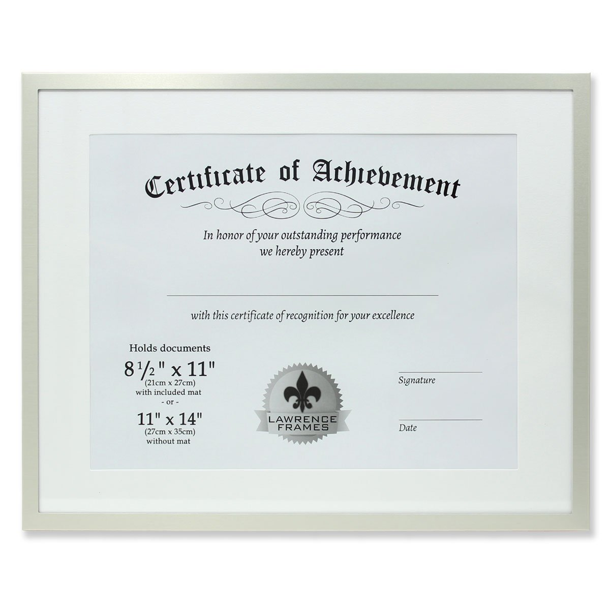 Lawrence Frames Dual Use Aluminum Document Frame, 11 by 14-Inch, Silver