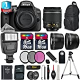 Holiday Saving Bundle for D3300 DSLR Camera + 18-55mm VR Lens + 0.43X Wide Angle Lens + 2.2x Telephoto Lens + Backup Battery + Flash + UV-CPL-FLD Filters + 2 Of 16GB Class 10 - International Version