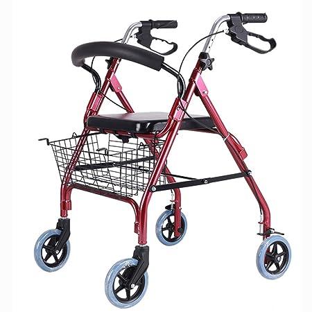 Andador con ruedas plegable, asiento, andadores de cuatro ...