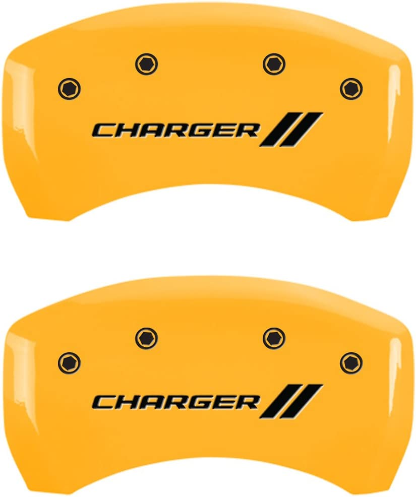 Engraved Front and Rear: With stripes//Charger 12162SCH1YL . Yellow powder coat finish MGP Caliper Covers Set of 4 caliper covers black characters