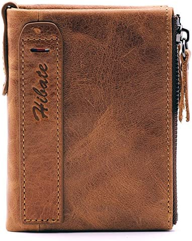 0123095f Hibate Men Leather Wallet RFID Blocking Men's Wallets Credit Card Holder  Coin Pocket Purse, One_Size, A_brown: Amazon.co.uk: Luggage