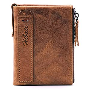 Hibate Men Leather Wallet RFID Blocking Men's Wallets Credit Card Holder Coin Pocket Purse, One_Size, A_brown